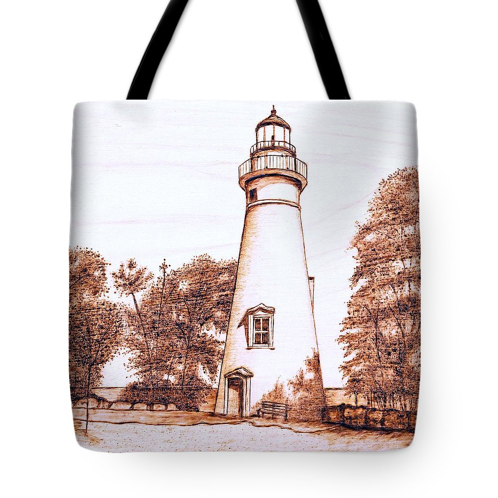 Lighthouse Tote Bag featuring the pyrography Marblehead Lighthouse by Danette Smith