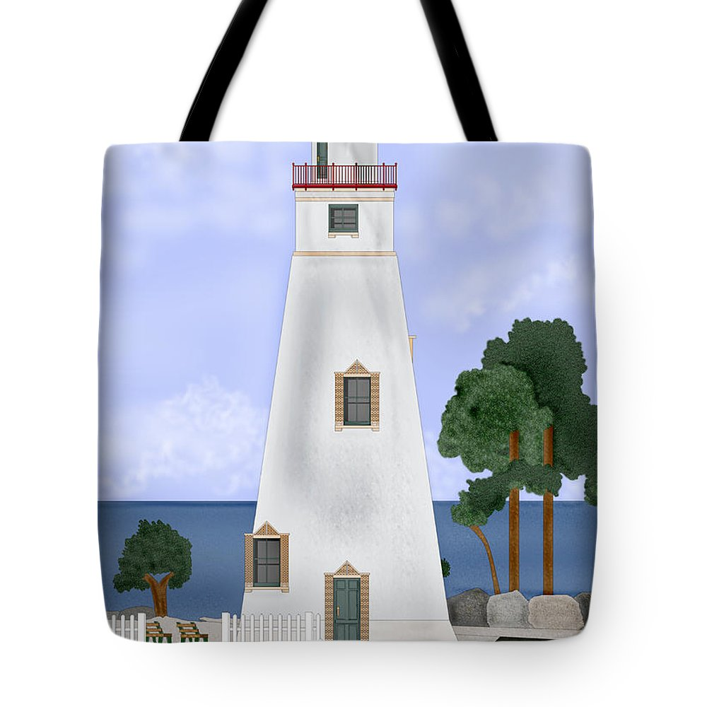Marblehead Ohio Lighthouse Tote Bag featuring the painting Marblehead Ohio by Anne Norskog