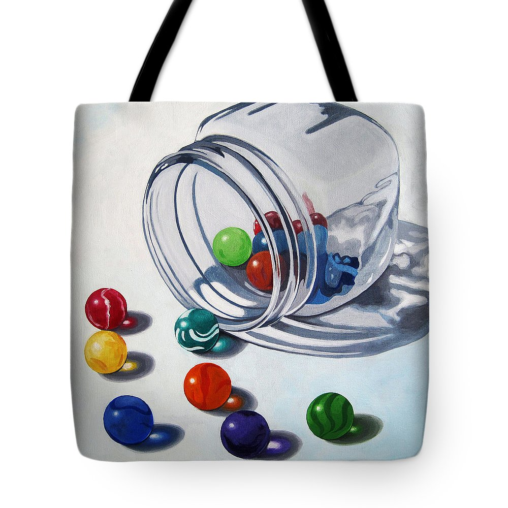 Marbles Tote Bag featuring the painting Marbles and Glass Jar still life painting by Linda Apple