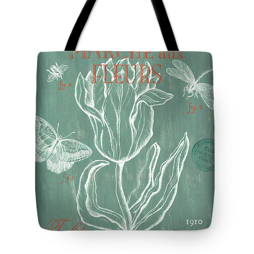 Floral Tote Bag featuring the painting Marche Aux Fleurs by Debbie DeWitt