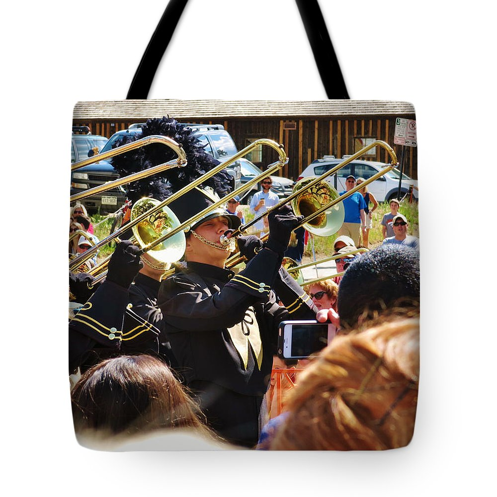 Photography Tote Bag featuring the photograph Marching Band Brass by Sarah Maple