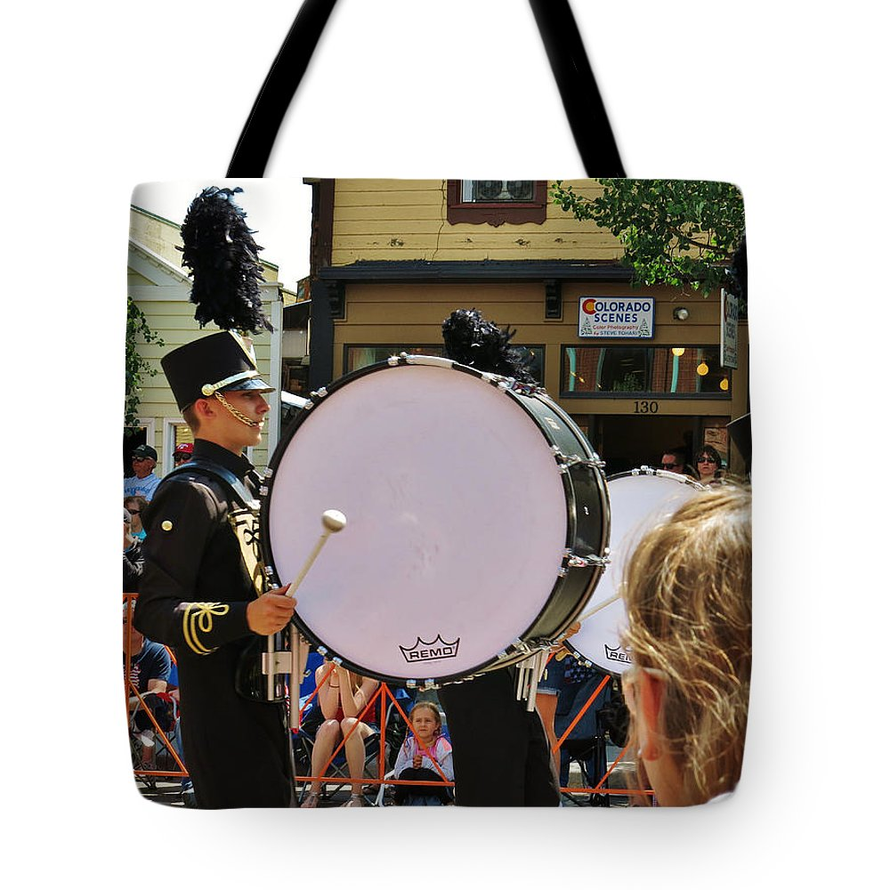 Marching Bands Tote Bag featuring the photograph Marching Band Percussion by Sarah Maple