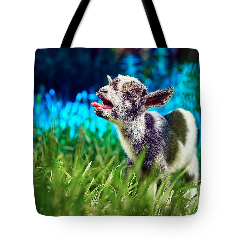 Goat Tote Bag featuring the photograph Baby Goat Kid Singing by TC Morgan