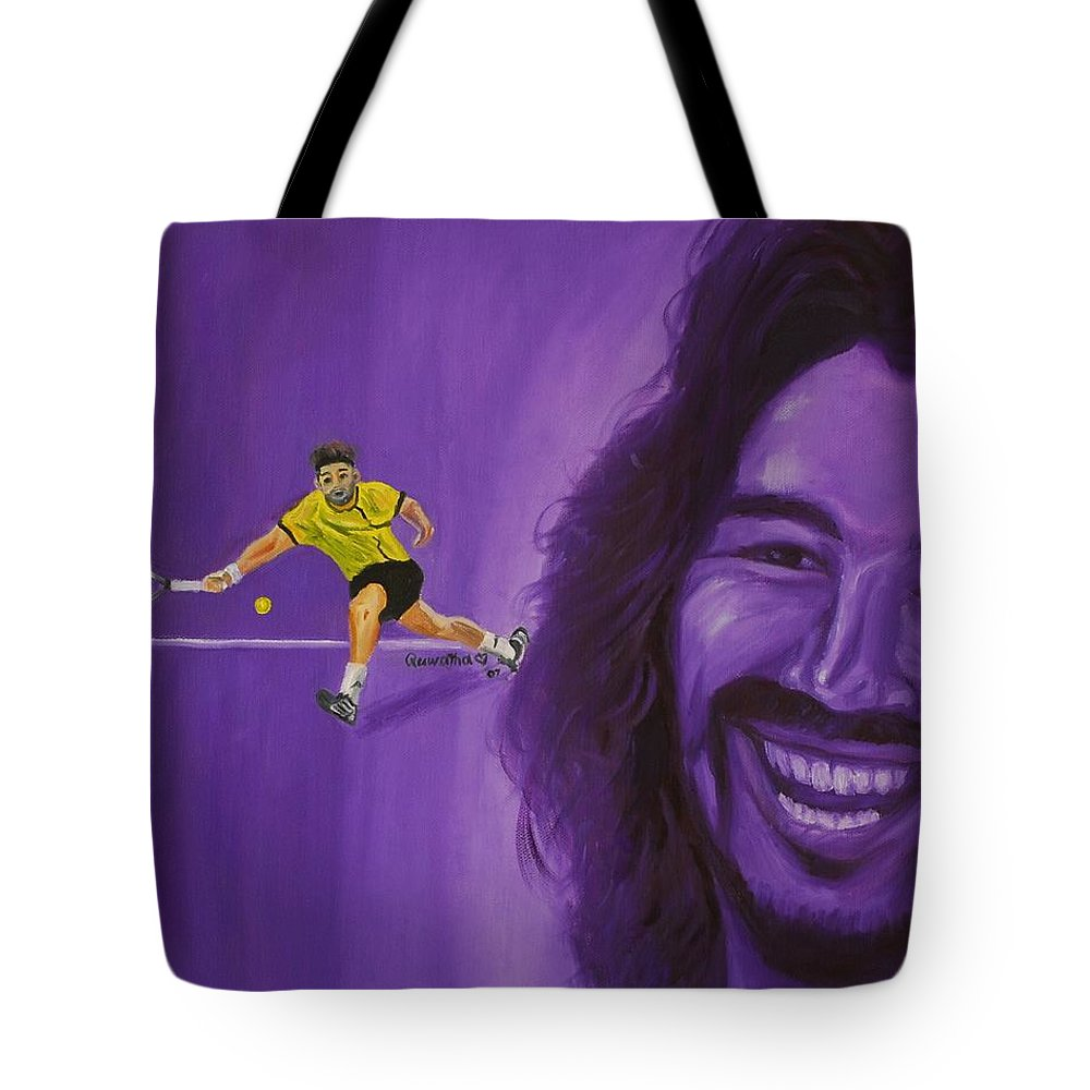 Marcos Tote Bag featuring the painting Marcos Baghdatis by Quwatha Valentine