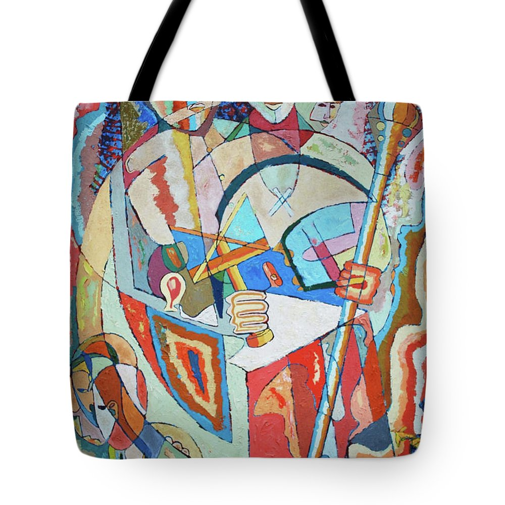 Johnpowellpaintings Tote Bag featuring the painting Marcus Garvey And Elders by John Powell