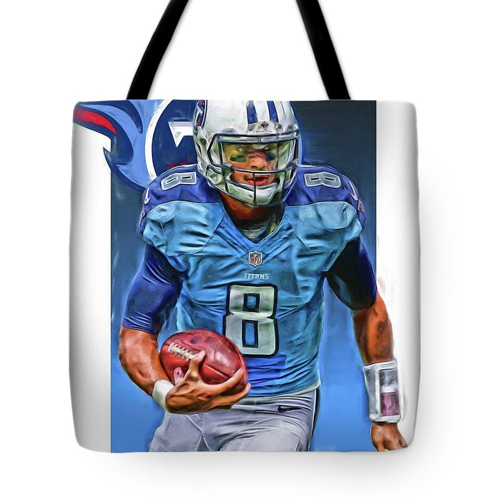 Marcus Mariota Tote Bag featuring the mixed media Marcus Mariota Tennessee Titans Oil Art by Joe Hamilton