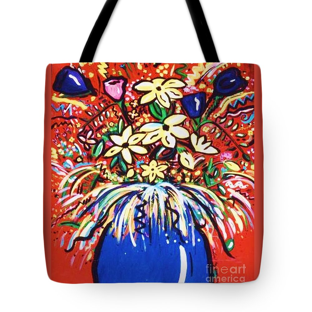 Floral Tote Bag featuring the painting Mardi Gras Floral Explosion by Sidra Myers