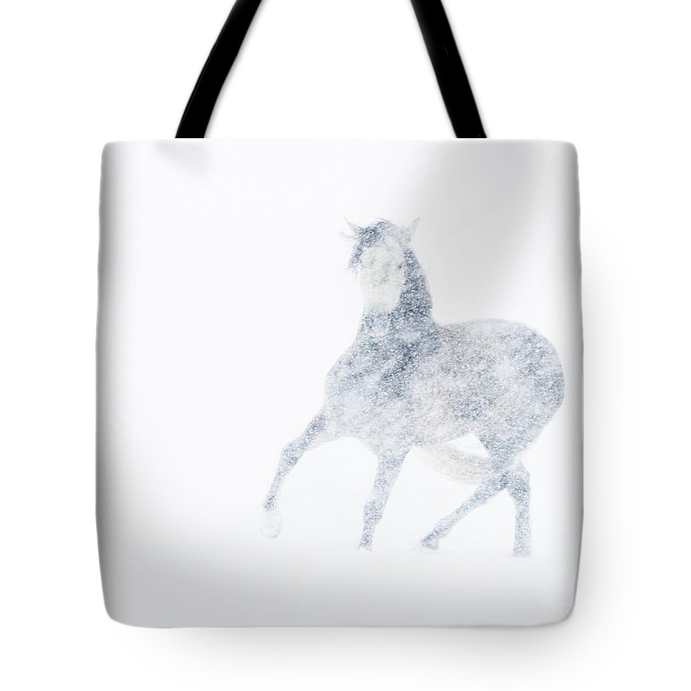 Mare Tote Bag featuring the photograph Mare In A Blizzard I by Carol Walker