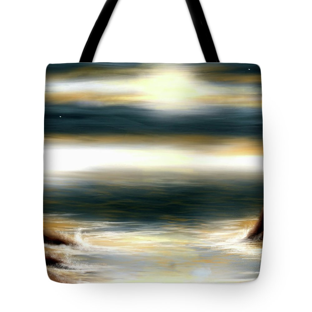 Ocean Tote Bag featuring the digital art Mares by Veronica Castaneda