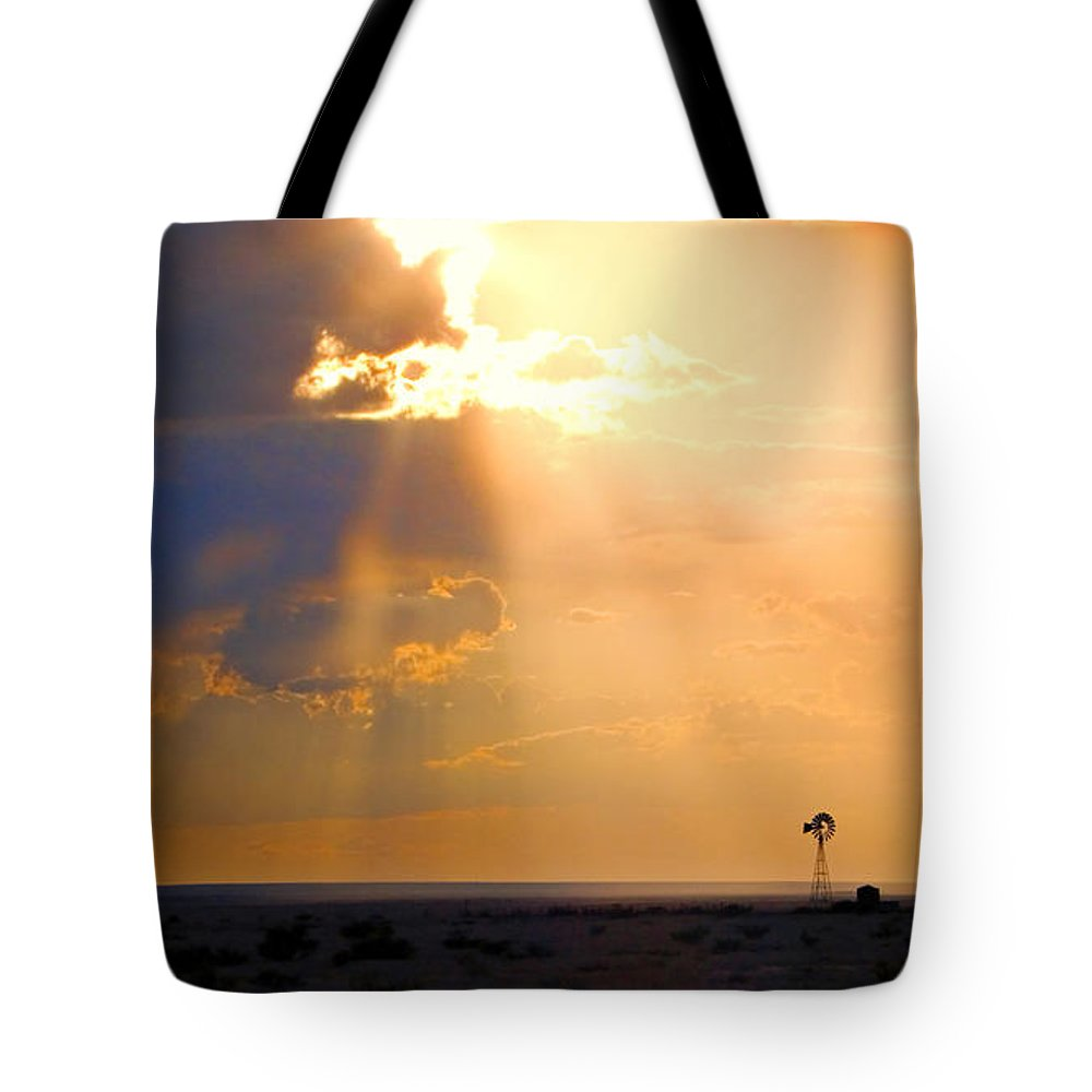 Skip Hunt Tote Bag featuring the photograph Marfa Windmill 1 by Skip Hunt
