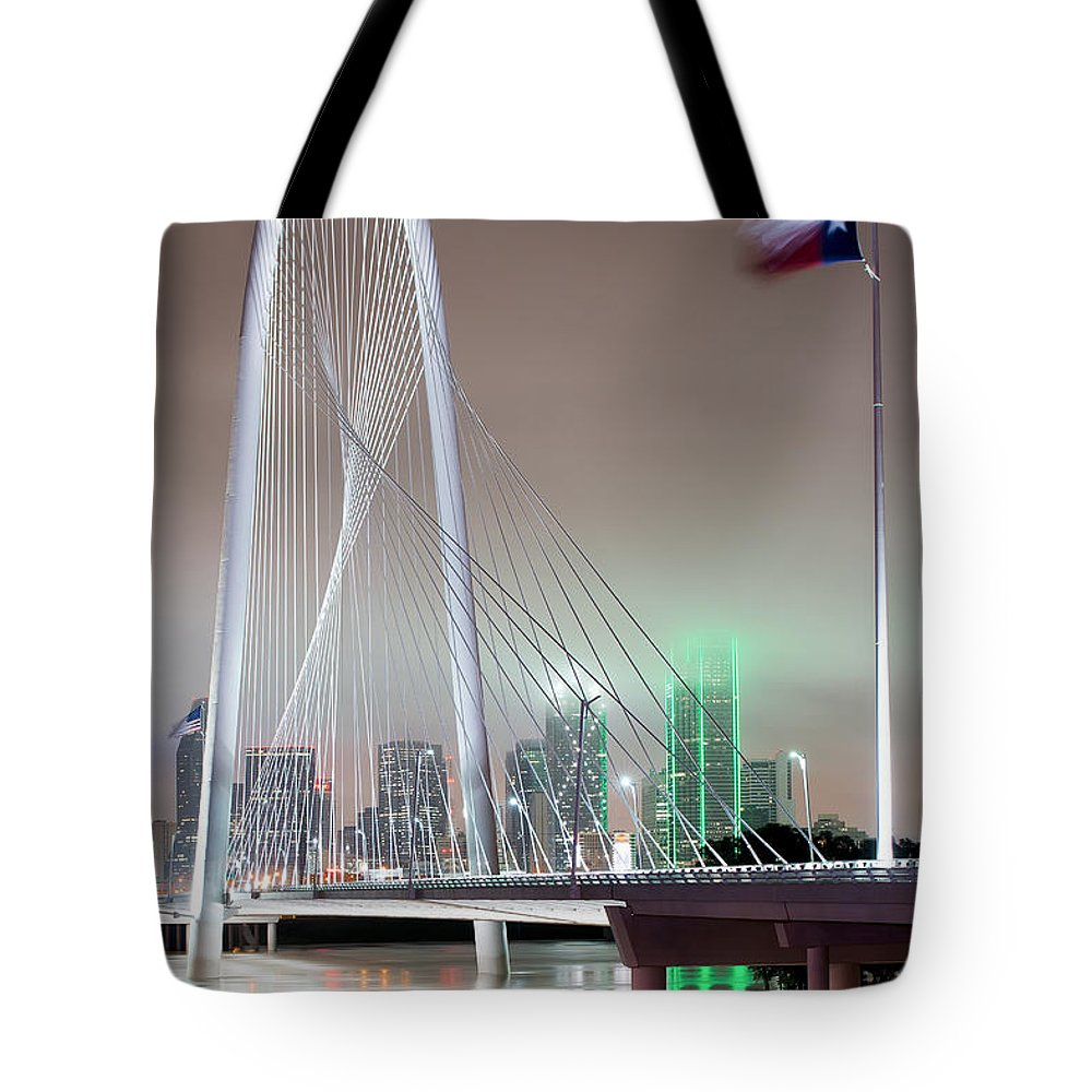 Margaret Hunt Hill Bridge Tote Bag featuring the photograph Margaret Hunt Hill Bridge Flag by Rospotte Photography