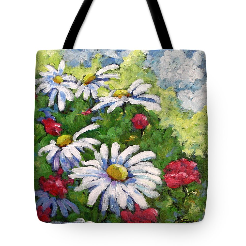 Daysy Tote Bag featuring the painting Marguerites 002 by Richard T Pranke