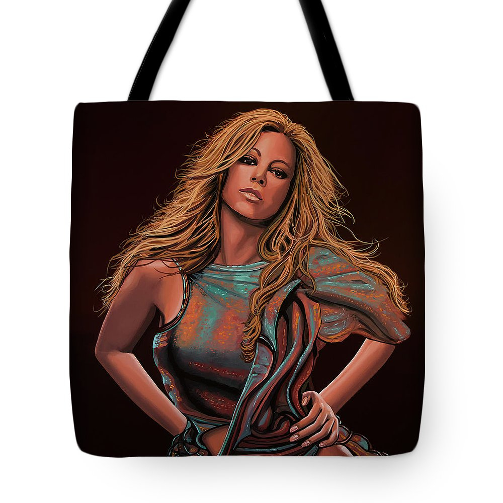 Mariah Carey Tote Bag featuring the painting Mariah Carey Painting by Paul Meijering