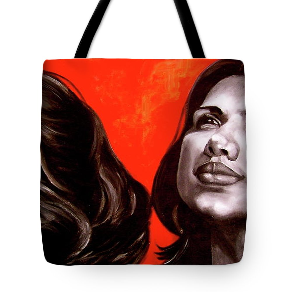 Portrait Tote Bag featuring the painting Marianns by Laura Pierre-Louis