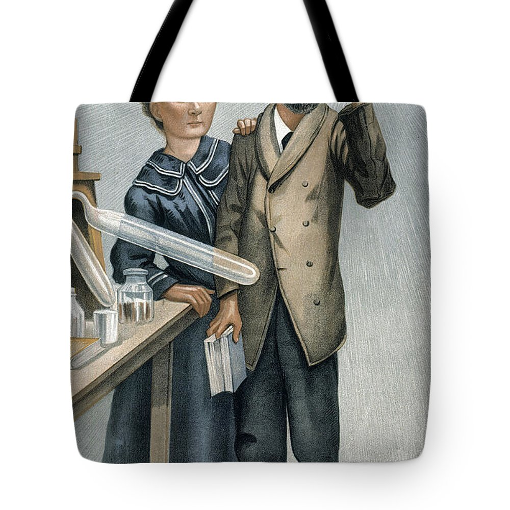 1904 Tote Bag featuring the photograph Marie And Pierre Curie by Granger