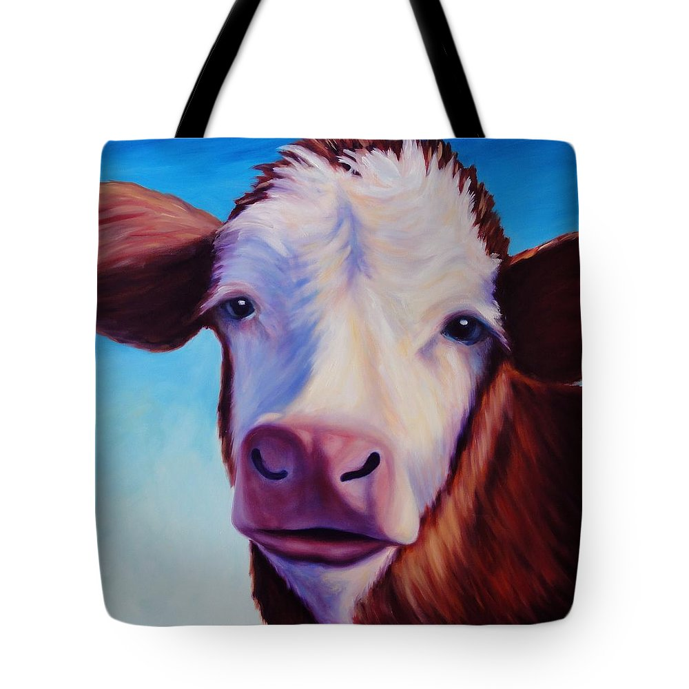 Cow Tote Bag featuring the painting Marie by Shannon Grissom