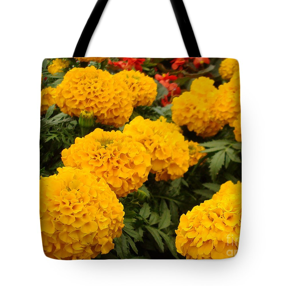 Flower Tote Bag featuring the photograph Marigold Party by Kathy Bucari
