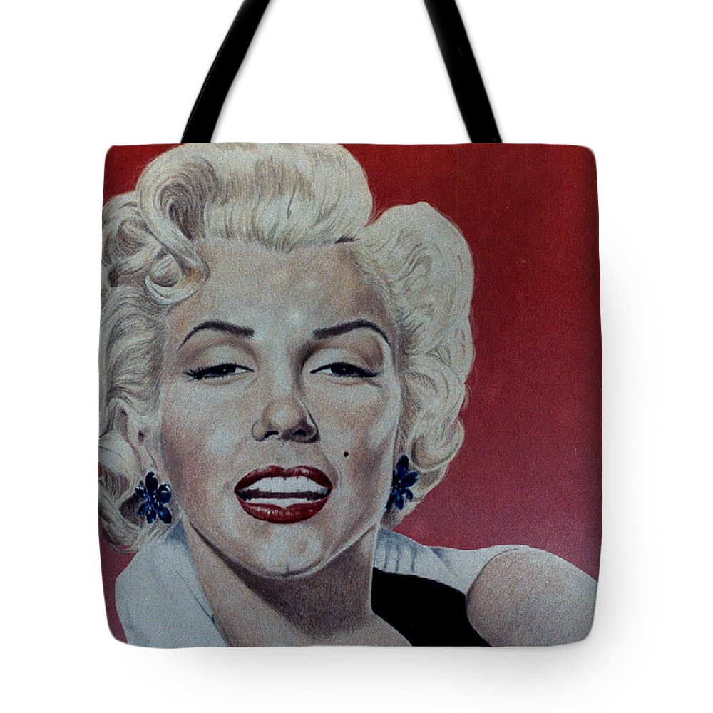 Marilyn Monroe Tote Bag featuring the drawing Marilyn by Maria Arango