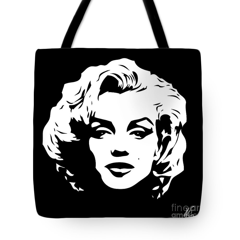 Art tote bag featuring the digital art marilyn monroe black and white pop art