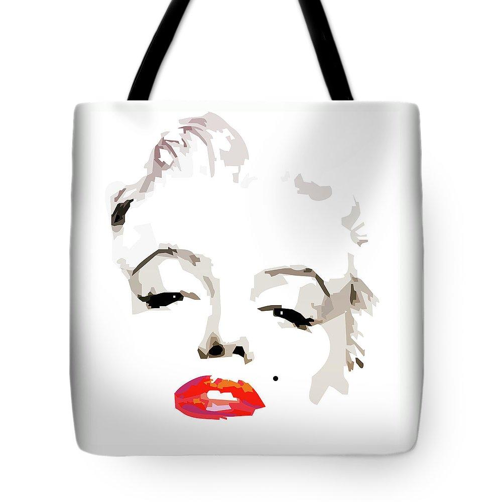 Marilyn Tote Bag featuring the digital art Marilyn Monroe Minimalist by Quim Abella