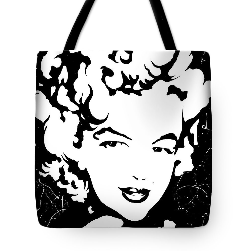 Portrait Tote Bag featuring the painting Marilyn Monroe by Curtiss Shaffer
