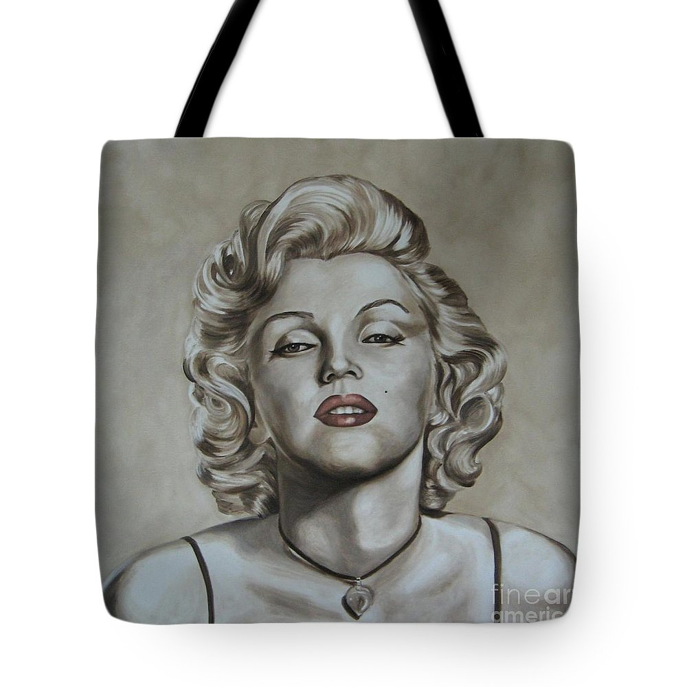 Oil Tote Bag featuring the painting Marilyn Monroe by Jindra Noewi