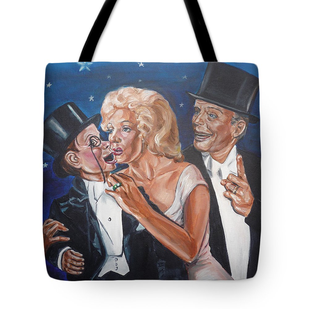 Old Time Radio Tote Bag featuring the painting Marilyn Monroe Marries Charlie Mccarthy by Bryan Bustard
