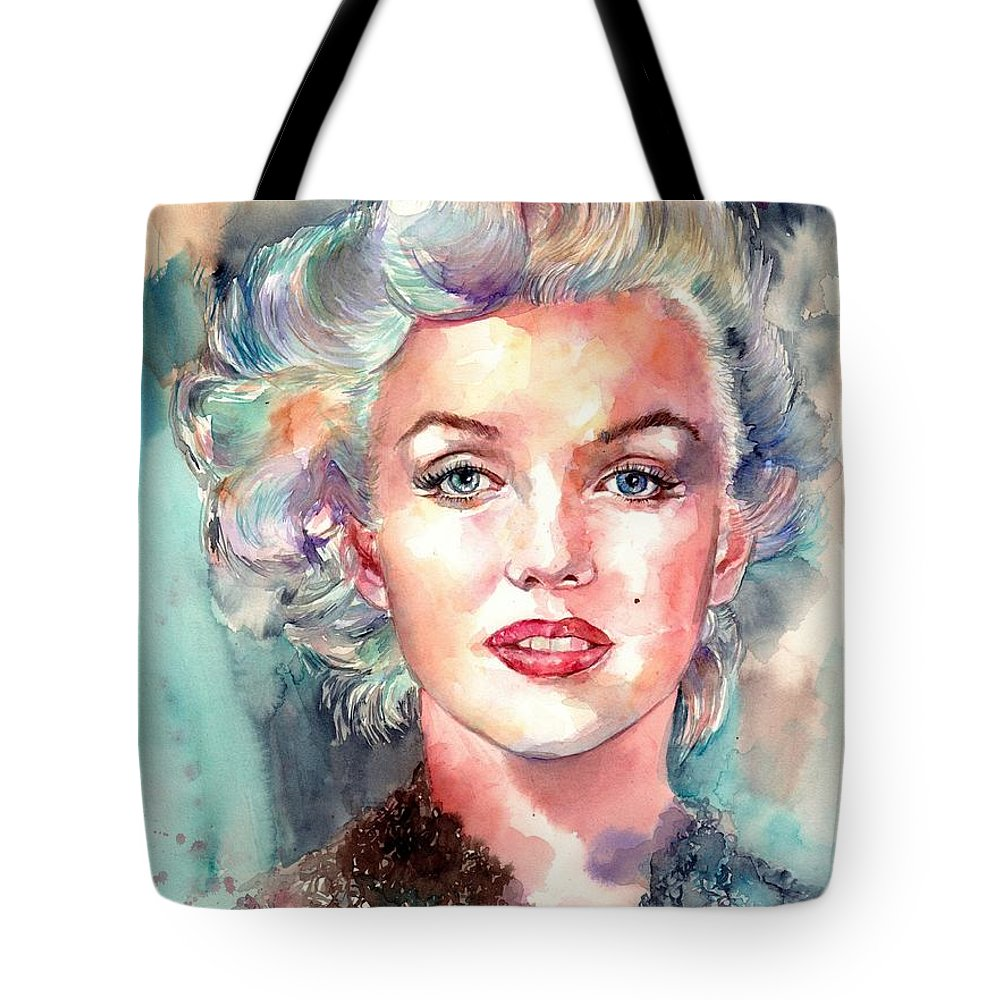 Marilyn Monroe Tote Bag featuring the painting Marilyn Monroe Portrait by Suzann's Art