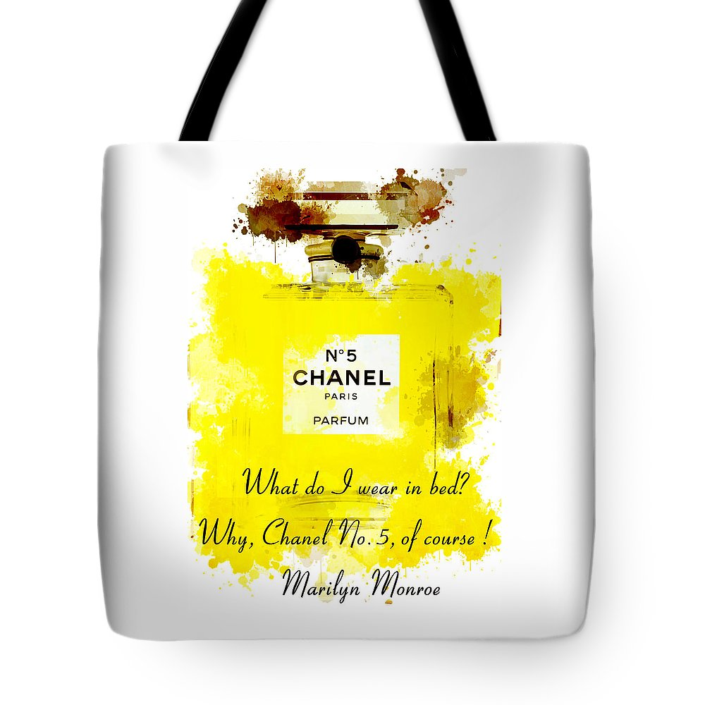 Marilyn Monroe Quotes 5 About Chanel No. 5 Tote Bag for Sale by ...