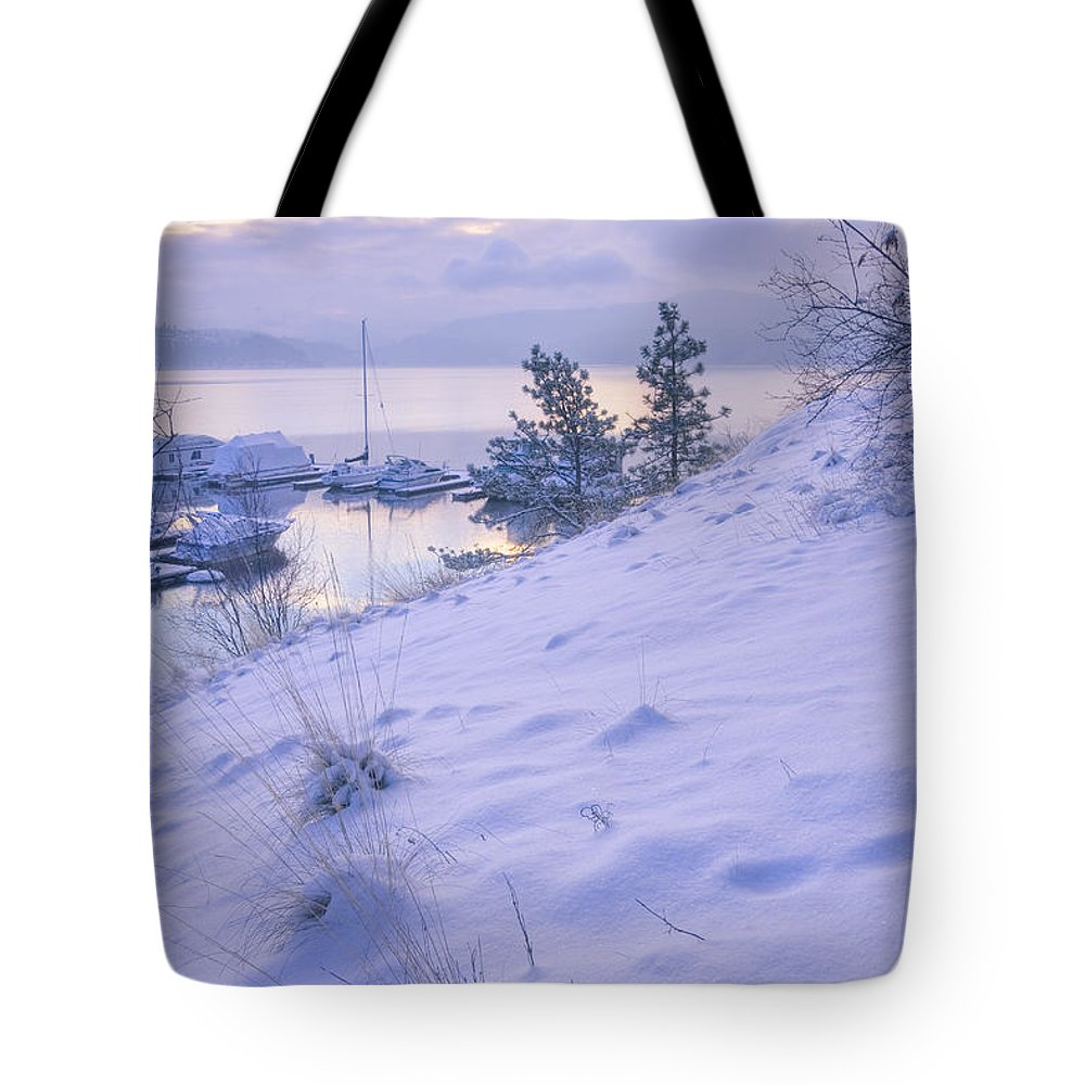Snow Tote Bag featuring the photograph Marina And Snow by Idaho Scenic Images Linda Lantzy