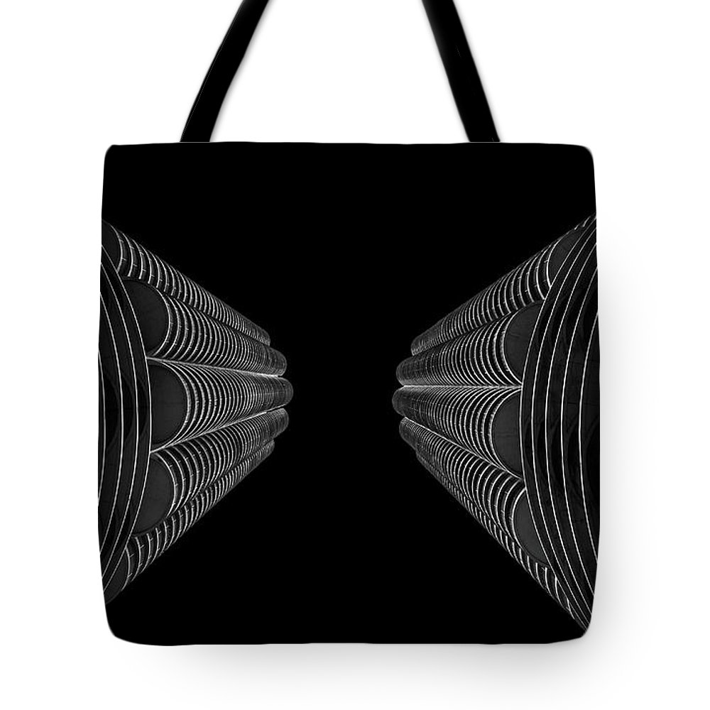 Photography Tote Bag featuring the photograph Marina City In Darkness by John Unwin