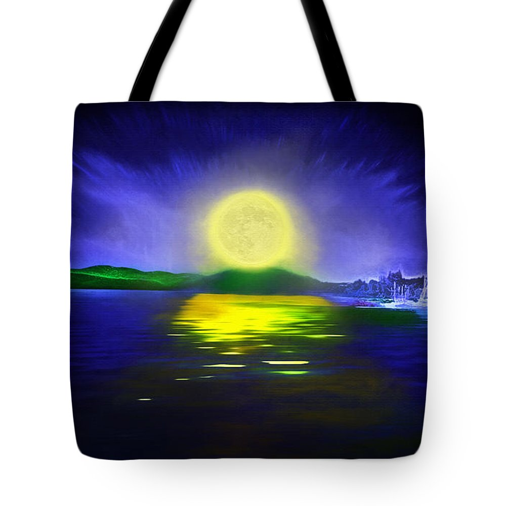 Couer D' Alene; Idaho; Lakes; Water; Night; Nighttime; Moonlight; Moonlit; Full Moon Tote Bag featuring the photograph Marina Moonrise by Steve Ohlsen