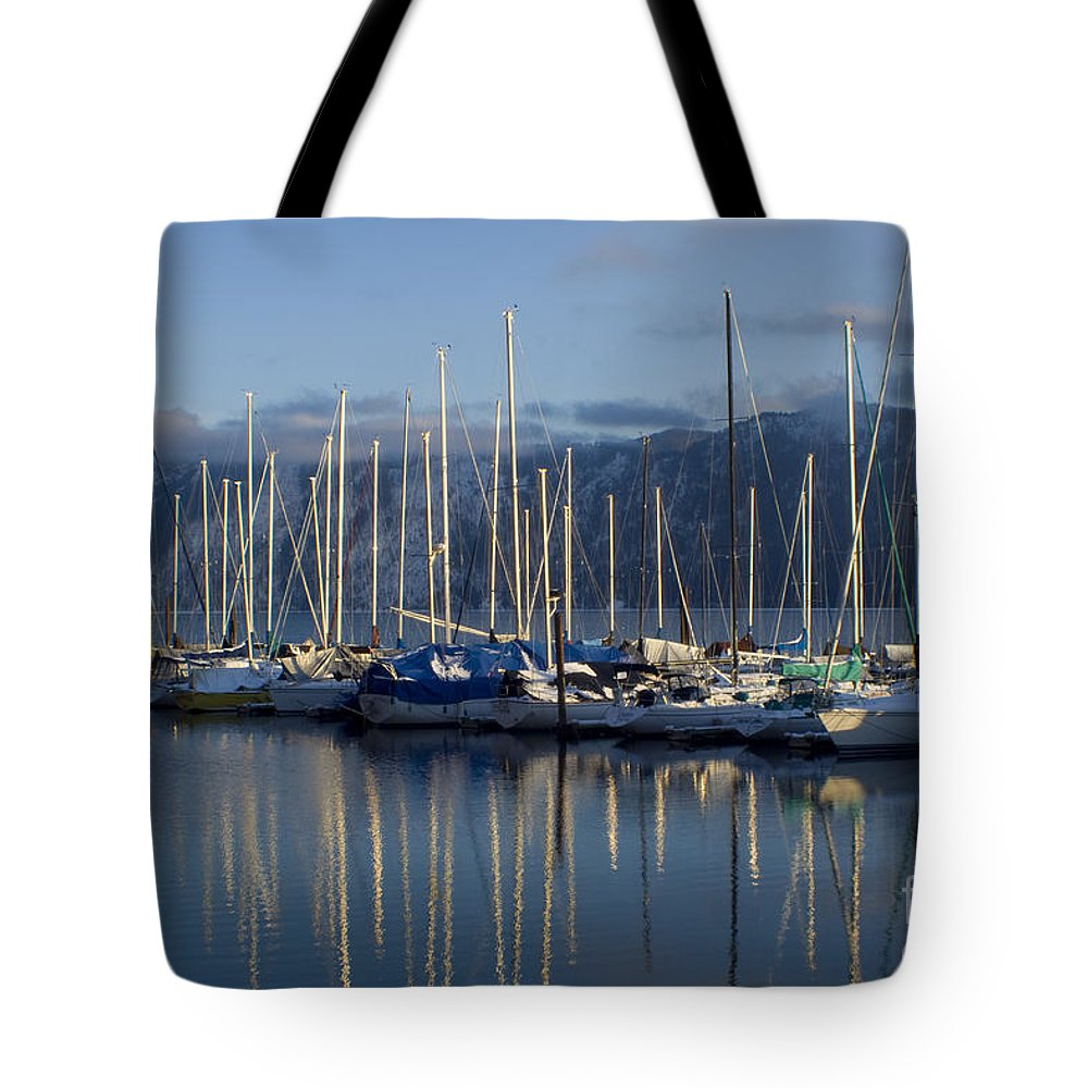 Calm Tote Bag featuring the photograph Marina Tranquility by Idaho Scenic Images Linda Lantzy