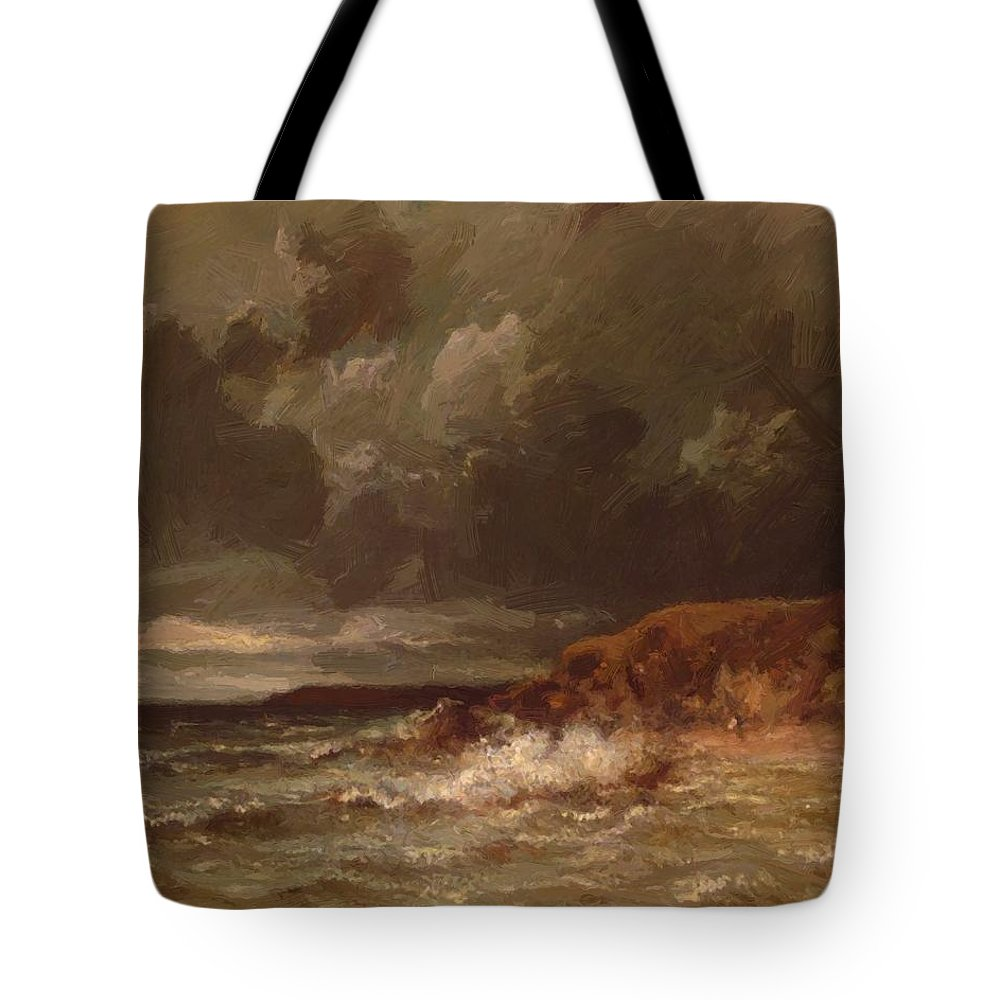 Marine Tote Bag featuring the painting Marine Landscape The Cape And Dunes Of Saint Quentin 1870 by Dupre Jules