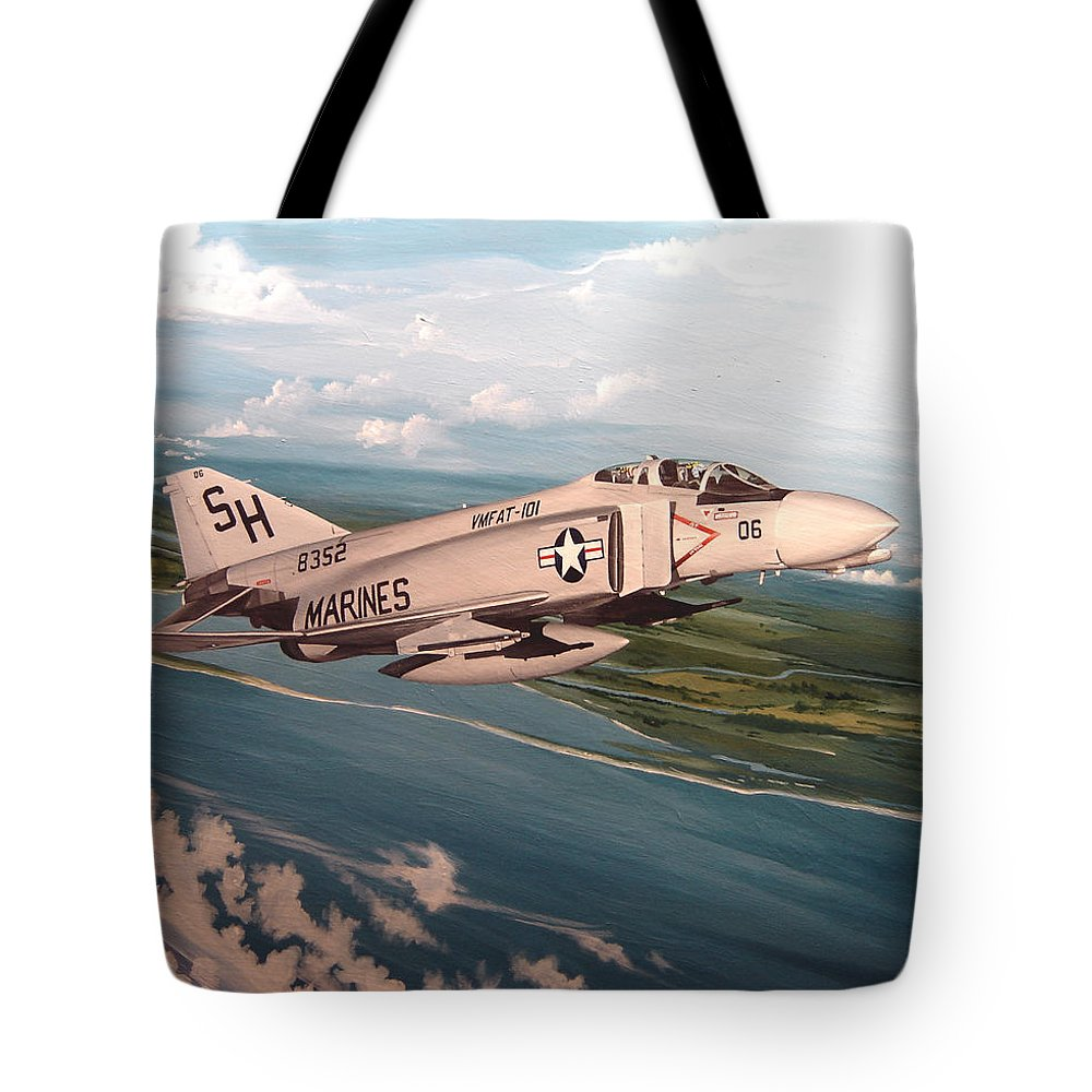 Aviation Tote Bag featuring the painting Marine Phantom by Marc Stewart