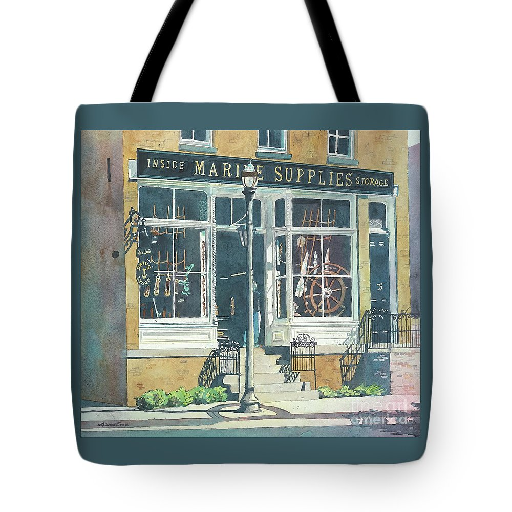 Storefronts Tote Bag featuring the painting Marine Supply Store by LeAnne Sowa