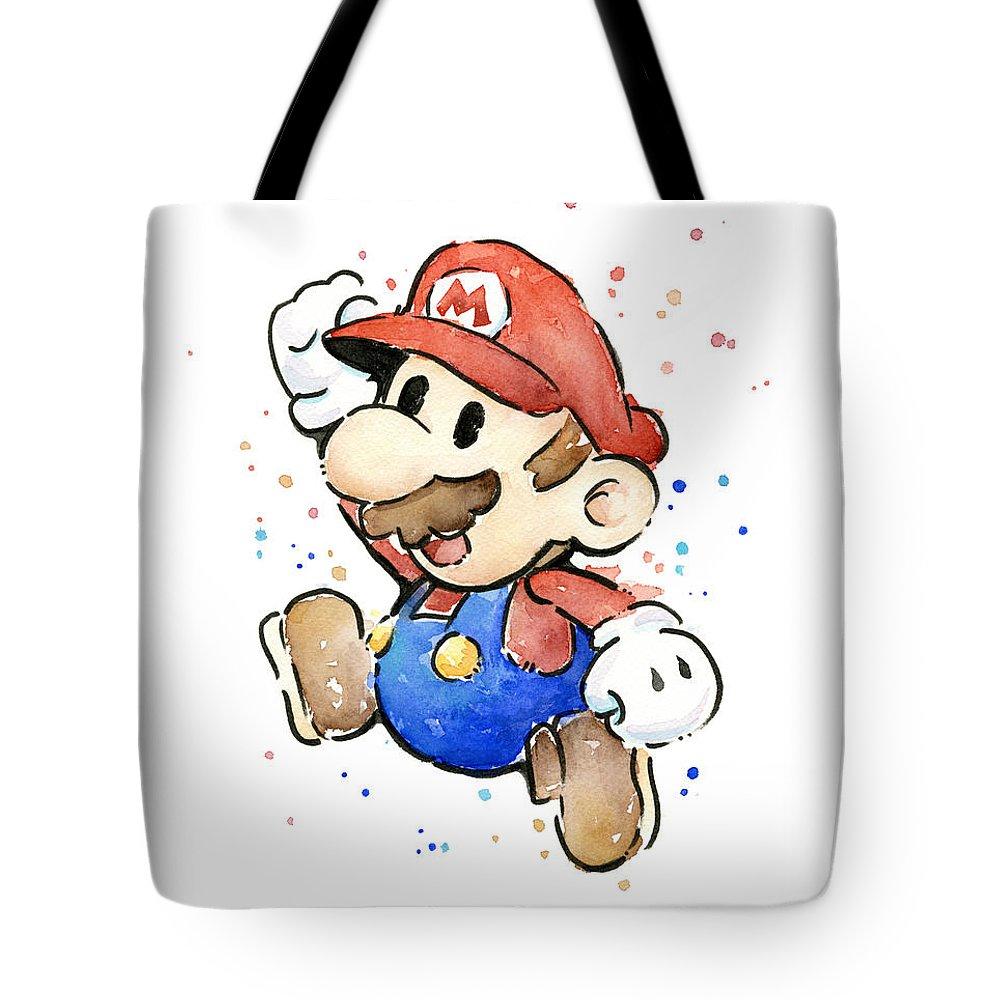 Mario Tote Bag featuring the painting Mario Watercolor Fan Art by Olga Shvartsur