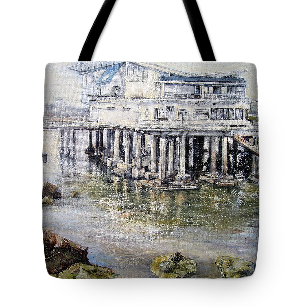 Maritim Tote Bag featuring the painting Maritim Club Castro Urdiales by Tomas Castano