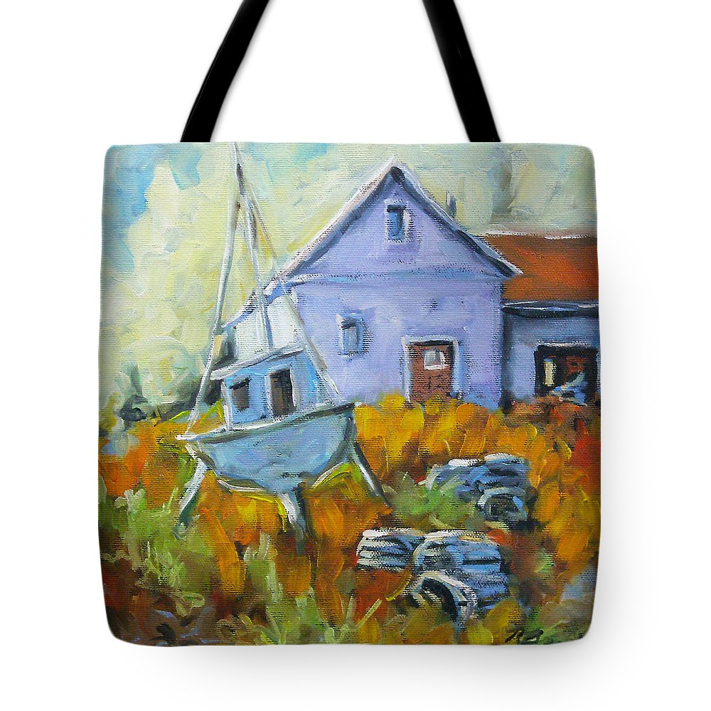 Water Tote Bag featuring the painting Maritime Scene by Richard T Pranke