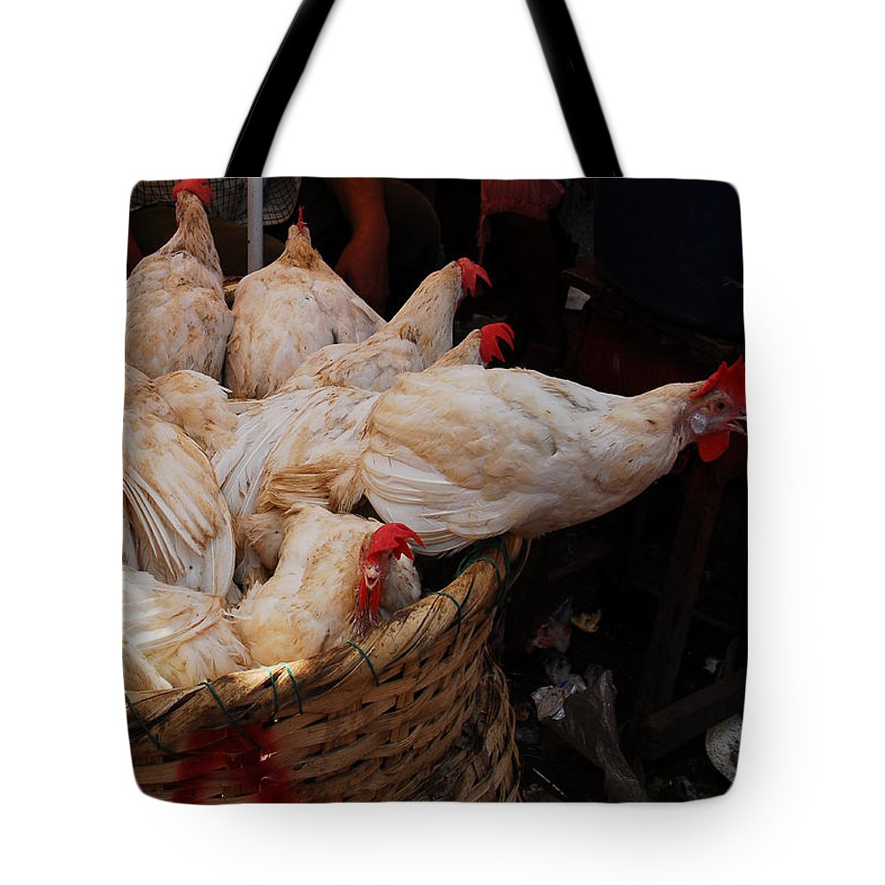 Color Photograph Tote Bag featuring the photograph Market Chickens Grenada Nicaragua by Dan Albright