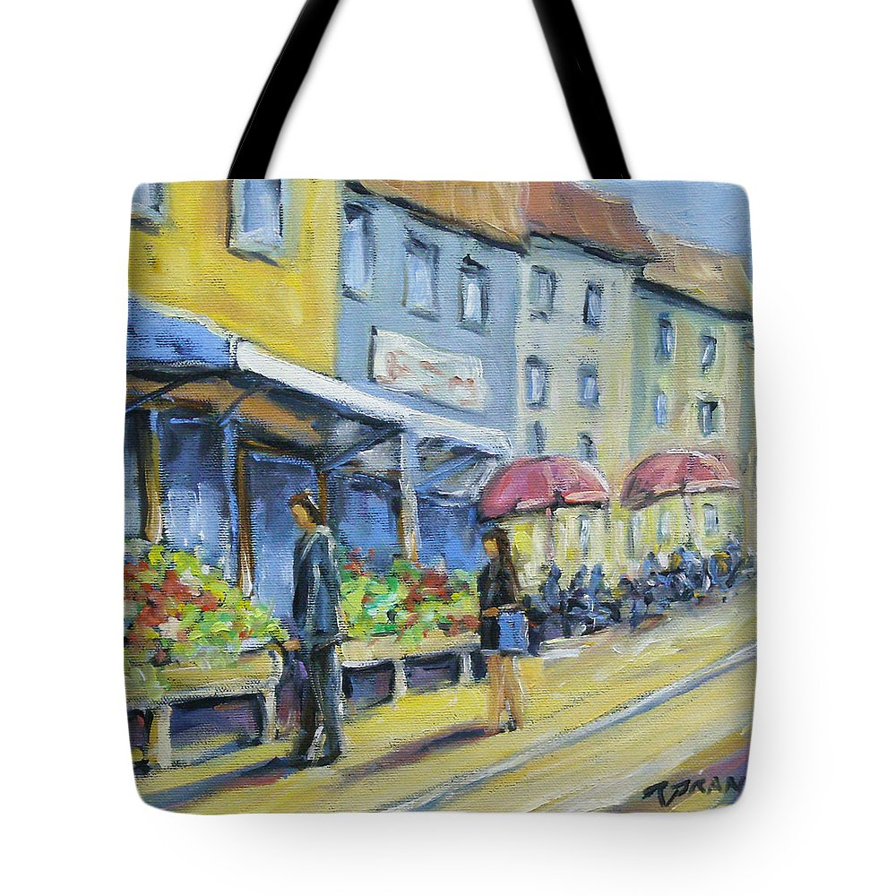 Balcony Tote Bag featuring the painting Market Day by Richard T Pranke