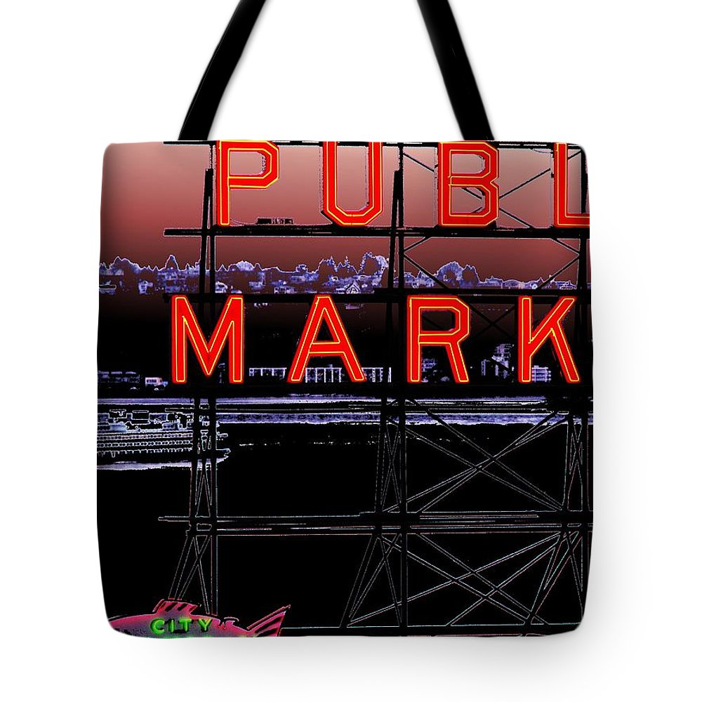 Seattle Tote Bag featuring the digital art Market Ferry 2 by Tim Allen