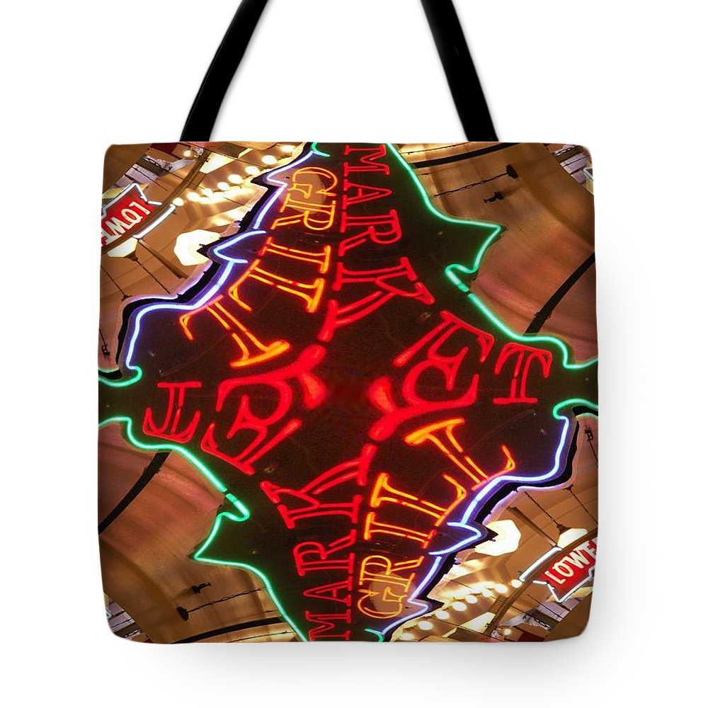Seattle Tote Bag featuring the photograph Market Grill by Tim Allen