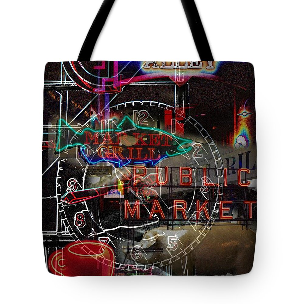 Seattle Tote Bag featuring the photograph Market Medley by Tim Allen