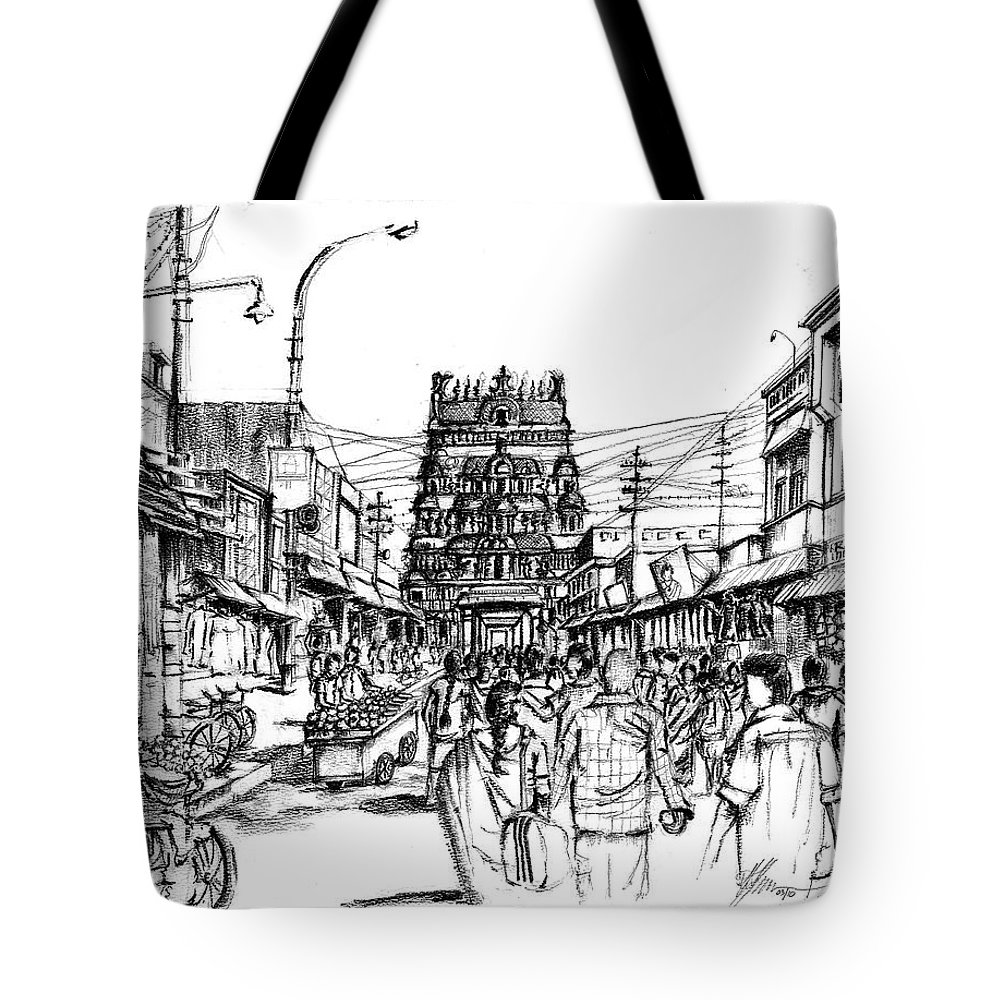 India Tote Bag featuring the drawing Market Place - Urban Life Outside Temple India by Aparna Raghunathan