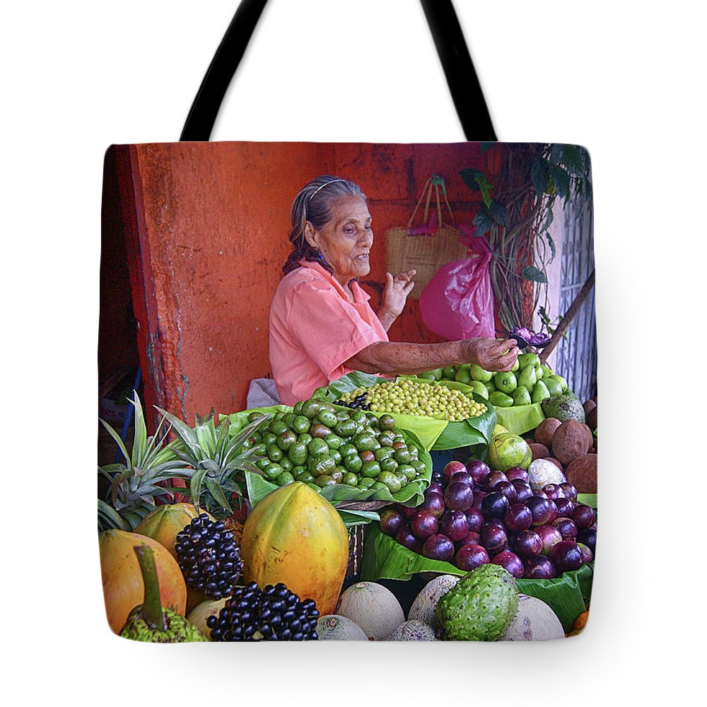 Prott Tote Bag featuring the photograph market stall in Nicaragua by Rudi Prott