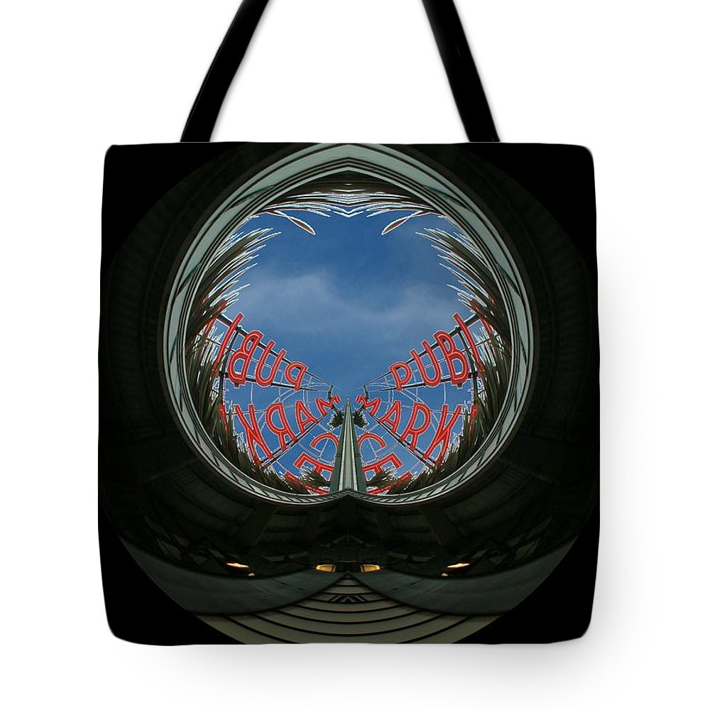 Seattle Tote Bag featuring the photograph Market Through The Looking Glass by Tim Allen