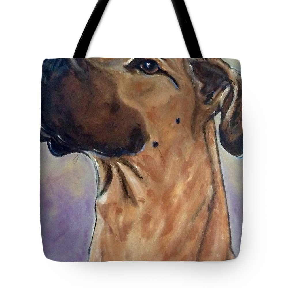Tote Bag featuring the painting Marley by Mary Papageorgiou