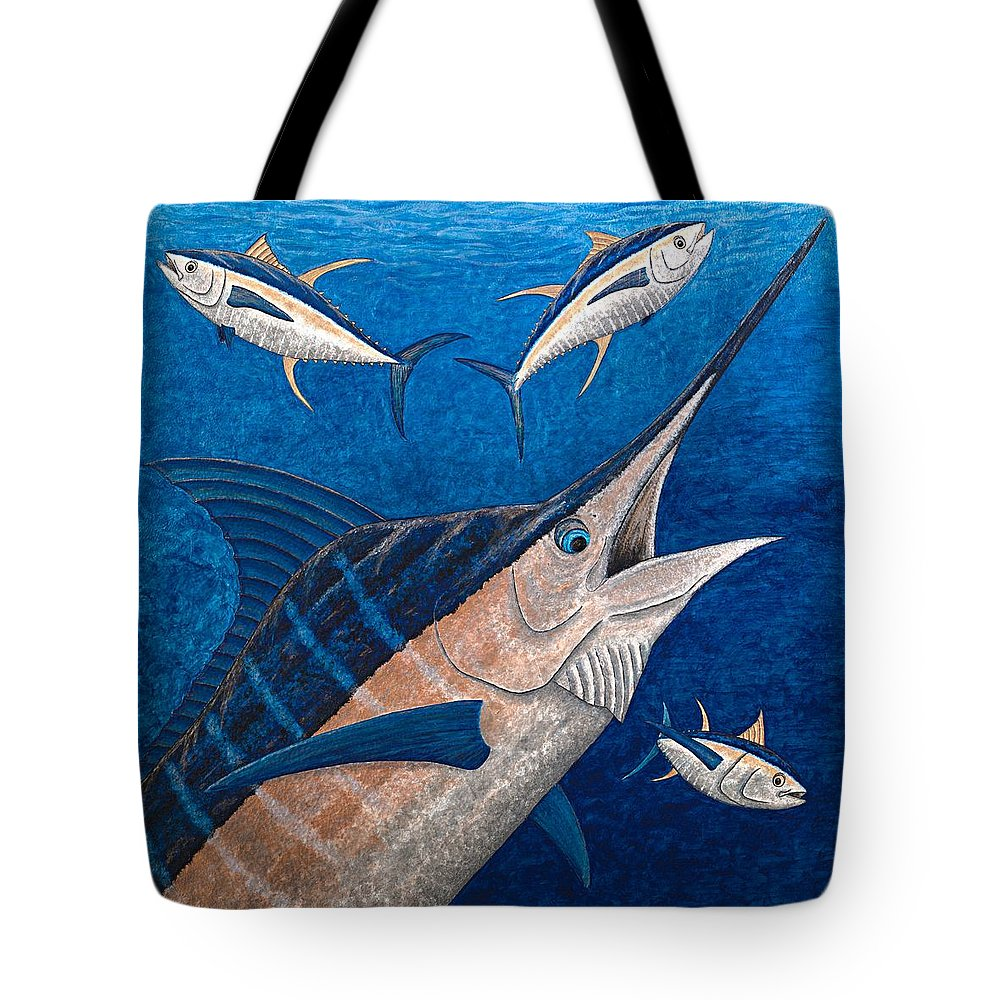 Marlin Tote Bag featuring the painting Marlin And Ahi by Carol Lynne