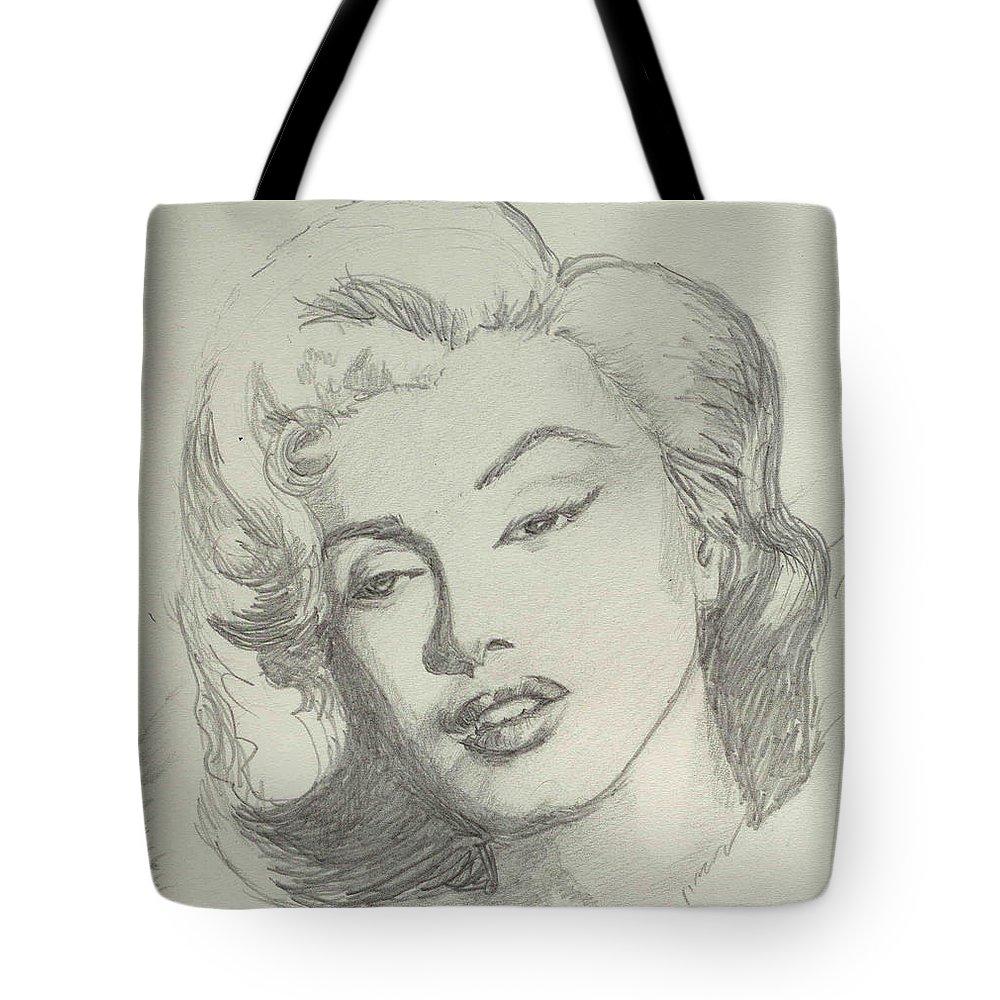 Marlyn Munroe Tote Bag featuring the drawing Marlyn Munroe by Asha Sudhaker Shenoy